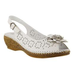 Women's Spring Step Belford Peep Toe Slingback White Leather