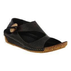 Women's Spring Step Lorelle Asymmetrical Sandal Black Leather