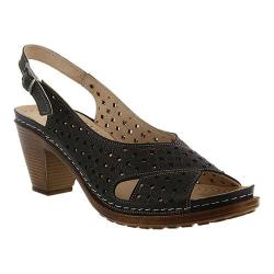 Women's Spring Step Marika Perforated Slingback Black Leather