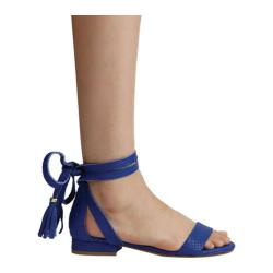 Women's Kenneth Cole New York Valen Lace Up Sandal Electric Blue Embossed Leather