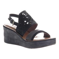 Women's OTBT Hippie Wedge Sandal Black Leather