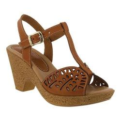 Women's Spring Step Ekam T Strap Sandal Camel Leather