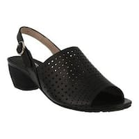 Women's Spring Step Eleanor Perforated Slingback Black Leather