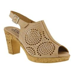 Women's Spring Step Liberty Peep Toe Slingback Beige Leather