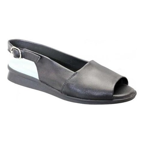 Women's David Tate Norma Open Toe Slingback Black Lambskin