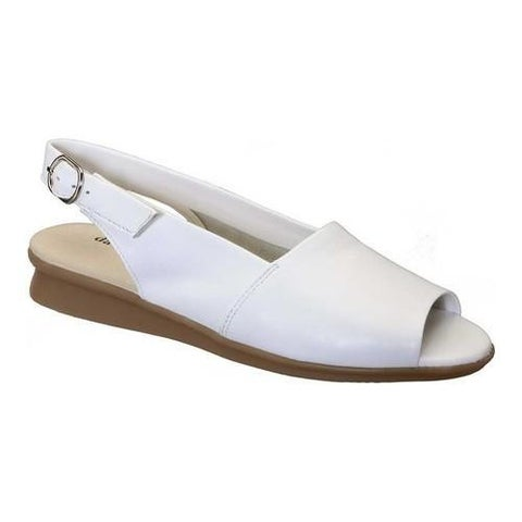 Women's David Tate Norma Open Toe Slingback White Lambskin