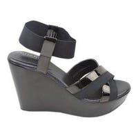 Women's Charles by Charles David Fort Ankle Strap Wedge Sandal Black Elastic/Patent