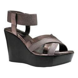 Women's Charles by Charles David Fort Ankle Strap Wedge Sandal Pewter Elastic/Patent