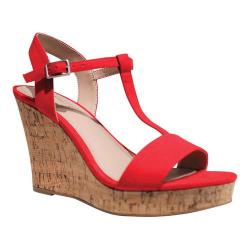Women's Charles by Charles David Libra T Strap Wedge Sandal Fire Red Microsuede