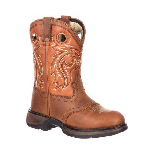 Children's Durango Boot DBT0166 Lil' Rebel Big Kid 8in Western Saddle Boot Brown/Burnt Orange Full Grain Leather