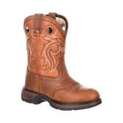 Children's Durango Boot DBT0166 Lil' Rebel Big Kid 8in Western Saddle Boot Brown/Burnt Orange Full Grain Leather - Thumbnail 0