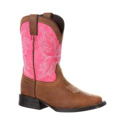 Children's Durango Boot DBT0168 Lil' Mustang Big Kid 8in Western Boot Brown/Pink Full Grain Leather