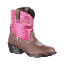 Children's Durango Boot DBT0183 Lil' Outlaw Big Kid Embossed Western Boot Saddle Brown/Blush Shimmer Synthetic