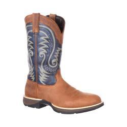 Men's Durango Boot DDB0105 Rebel 12in Waterproof Western Boot Tan/Navy Full Grain Leather