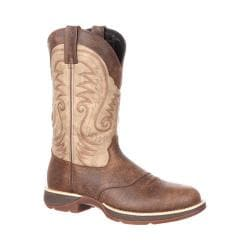 Men's Durango Boot DDB0106 Rebel 12in Waterproof Western Saddle Boot Distressed Brown/Tan Full Grain Leather