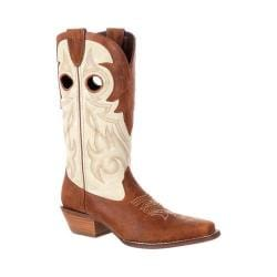 Women's Durango Boot DRD0174 Crush 12in Off The Collar Western Boot Tan/Cream Full Grain Leather - Thumbnail 0