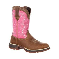 Women's Durango Boot DRD0175 Lady Rebel 10in Western Boot Brown/Pink Full Grain Leather