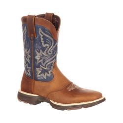 Women's Durango Boot DRD0183 UltraLite 10in Western Saddle Boot Tan/Blue Denim/Full Grain Leather - Thumbnail 0