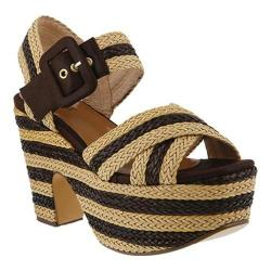 Women's Azura Amare Woven Double Platform Sandal Brown Synthetic Leather