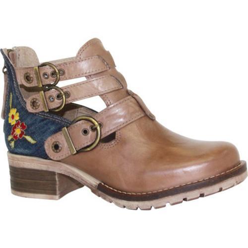 Women's Dromedaris Kelsy Denim Buckle Bootie Taupe Leather