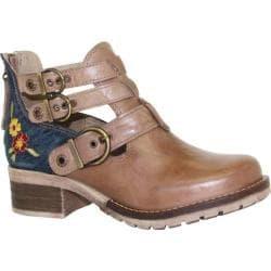 Women's Dromedaris Kelsy Denim Buckle Bootie Taupe Leather - Thumbnail 0