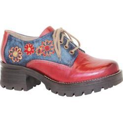 Women's Dromedaris Kiara Denim Lug Sole Oxford Red Leather