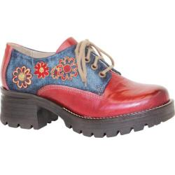 Women's Dromedaris Kiara Denim Lug Sole Oxford Red Leather