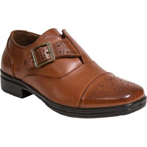 Boys' Deer Stags Semi Cap Toe Monkstrap Luggage Brown