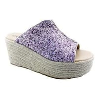 Women's Penny Loves Kenny Fickle Wedge Slide Gold Glitter Fabric