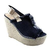 Women's Penny Loves Kenny Notch Platform Wedge Sandal Black Denim Fabric