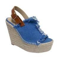 Women's Penny Loves Kenny Notch Platform Wedge Sandal Blue Denim Fabric