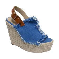 Women's Penny Loves Kenny Notch Platform Wedge Sandal Blue Denim Fabric