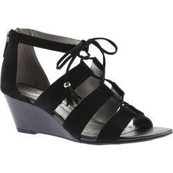 Women's Bandolino Opiuma Wedge Sandal Black Faux Suede