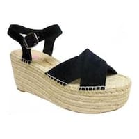 Women's Penny Loves Kenny Friend Platform Wedge Sandal Black Microsuede