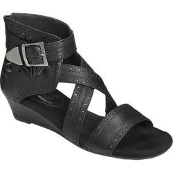 Women's Aerosoles Yetliner Wedge Sandal Black Combo Leather