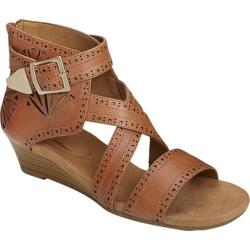 Women's Aerosoles Yetliner Wedge Sandal Tan Combo Leather
