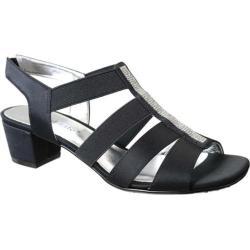 Women's David Tate Eve Jeweled Sandal Black Satin (More options available)