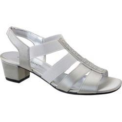 Women's David Tate Eve Jeweled Sandal Silver Satin