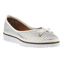 Women's Spring Step Abiah Perforated Flat Silver Leather