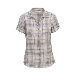 Women's Woolrich Carrabelle Short Sleeve Shirt Silver Gray Plaid