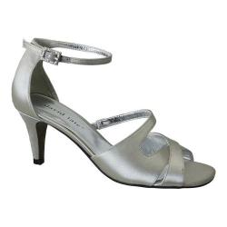 Women's David Tate Gaze Ankle Strap Sandal Silver Satin