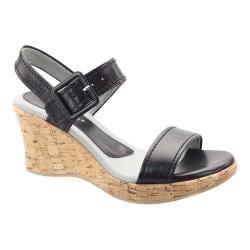 Women's David Tate Newport Quarter Strap Sandal Black Glazed Calfskin
