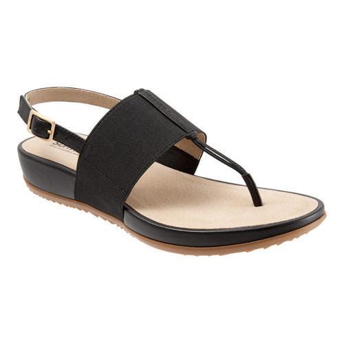 Women's SoftWalk Daytona Thong Sandal Black Elastic/Soft Leather