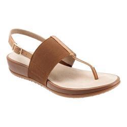 Women's SoftWalk Daytona Thong Sandal Tan/Natural Elastic/Soft Leather