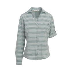 Women's Woolrich Day Pack Convertible Shirt Sea Green Stripe