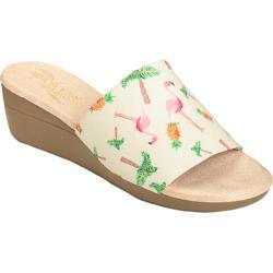 Women's Aerosoles Florida Slide Sandal Bone Flamingo Print Fabric
