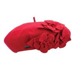 Women's Betmar Flower Beret True Red