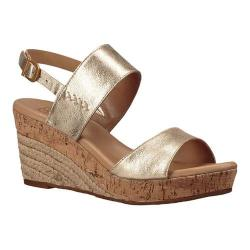Women's UGG Elena Metallic Wedge Sandal Gold Leather