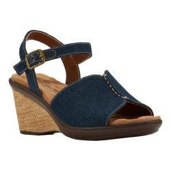 Women's Walking Cradles Lucca Quarter Strap Wedge Sandal Blue Denim (More options available)