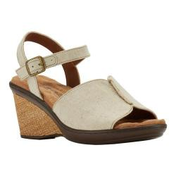 Women's Walking Cradles Lucca Quarter Strap Wedge Sandal Natural Fabric (More options available)